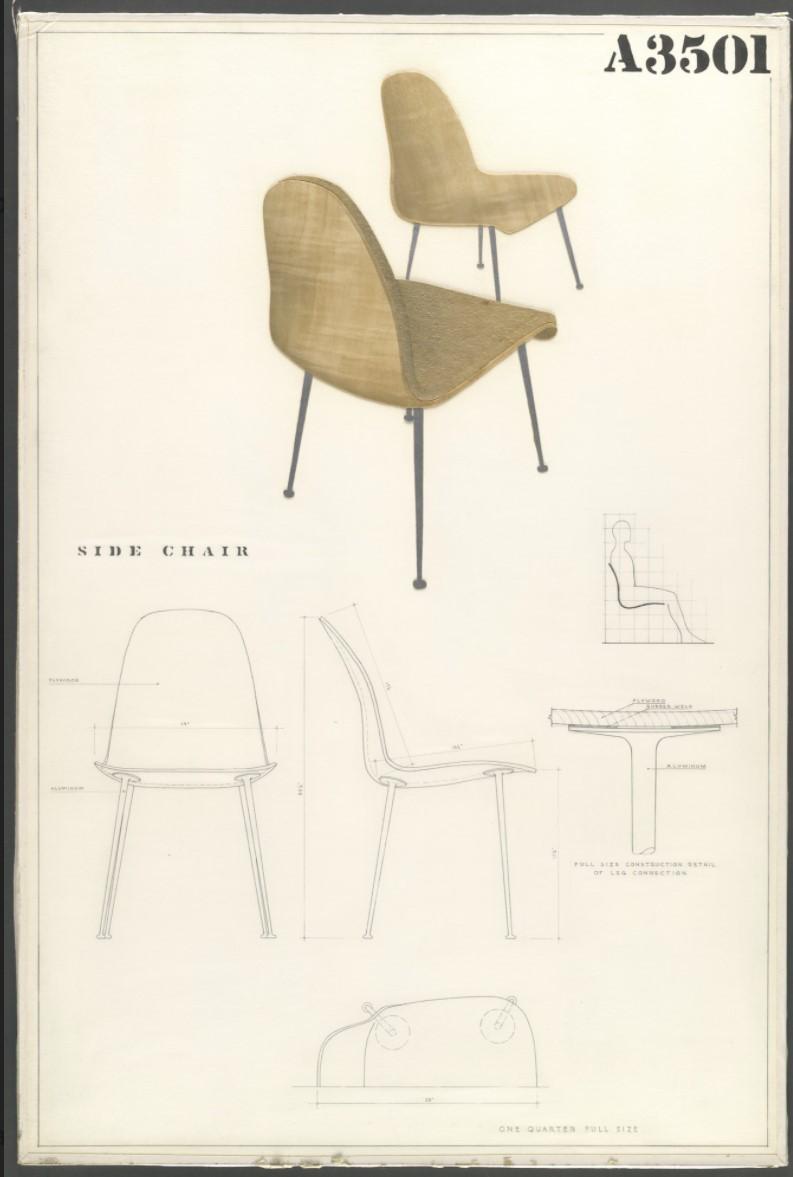 Primeros diseños de sillas modernas eames madera contrachapada
