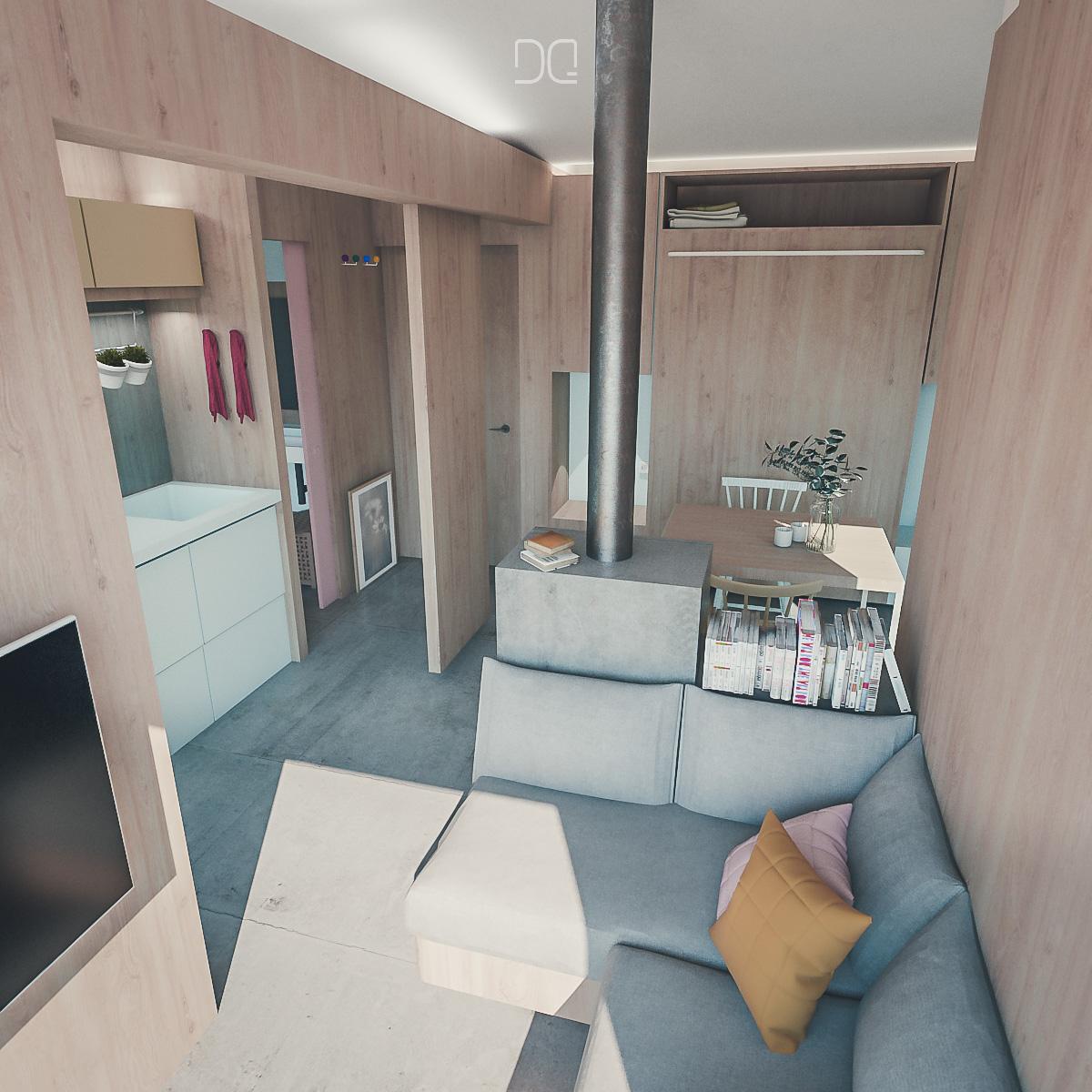DQ-arquitectura-y-paisaje-minicasa-madera-salón-rectangular