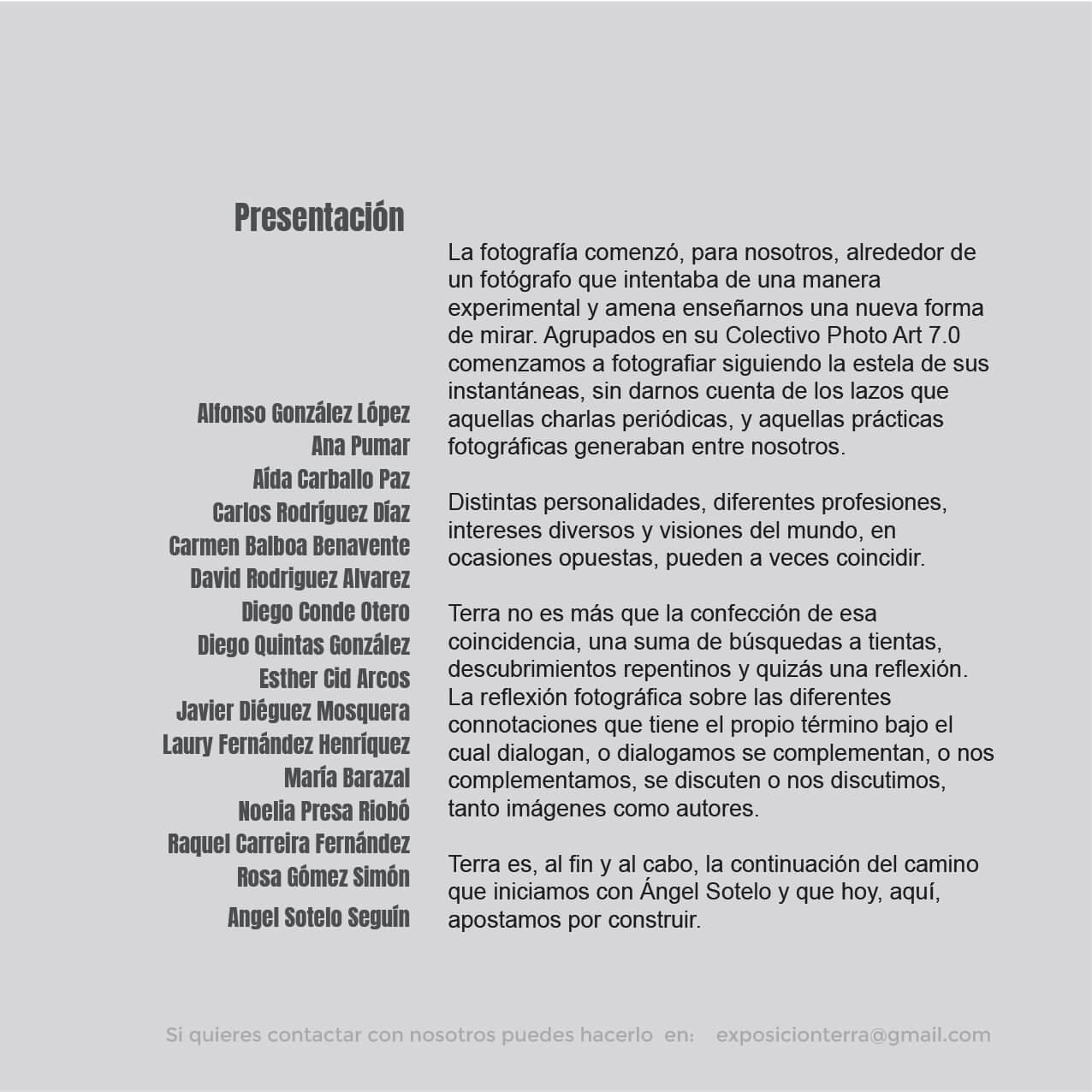 Diseño de carteleria y flyers ourense exposicion fotografica terra enves