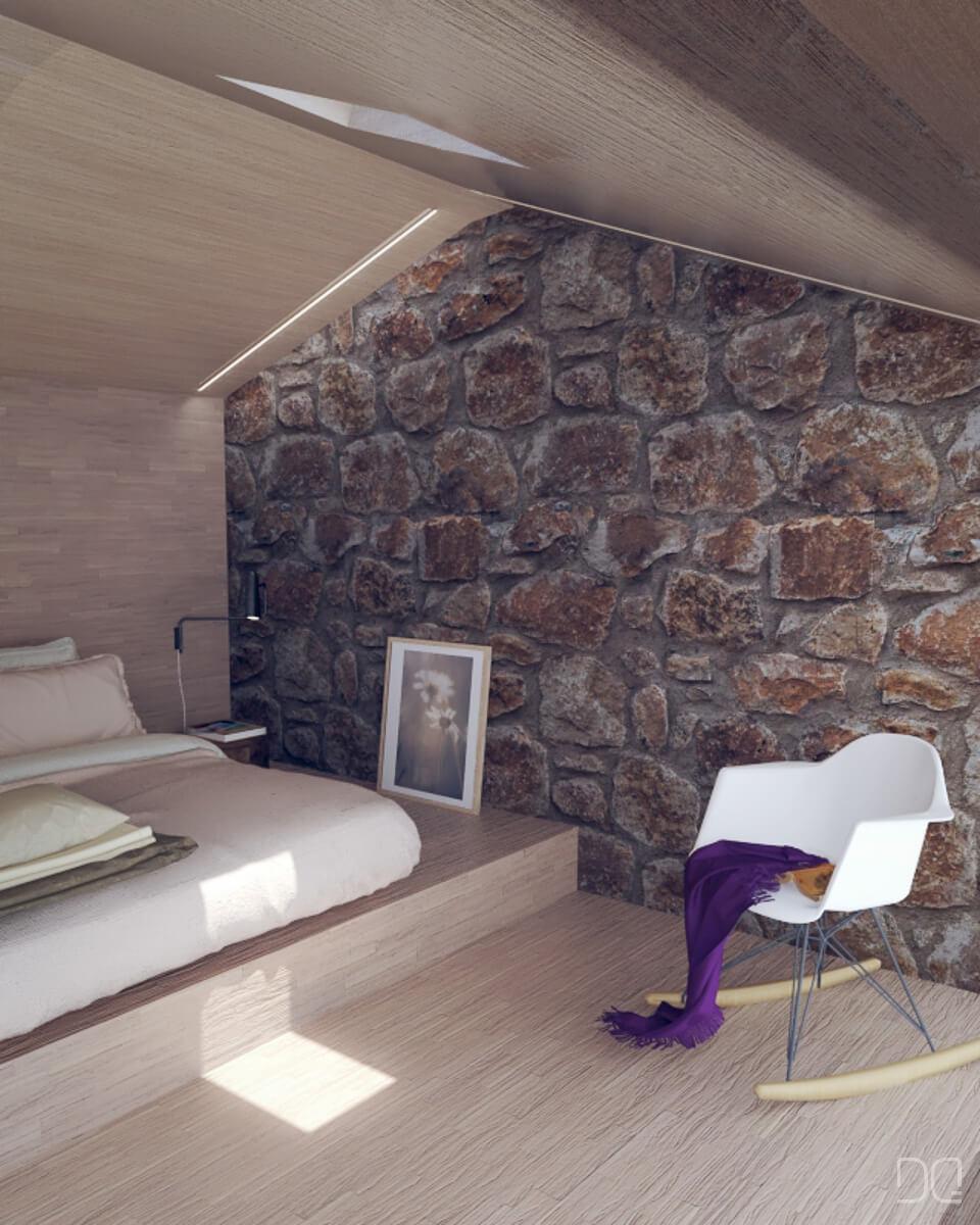 Restauracion de  casa de piedra en Seixalbo, dormitorio