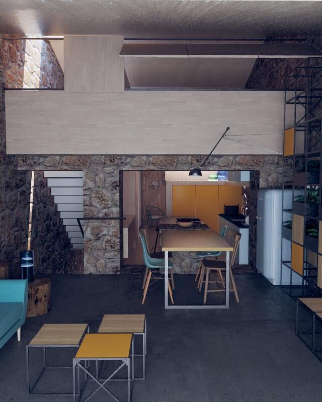 Rehabilitacion de casa de piedra en Seixalbo, salón comedor