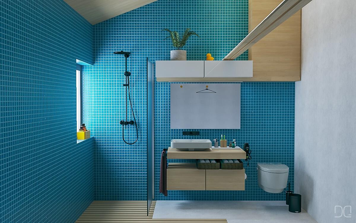 Reforma de un baño en azul